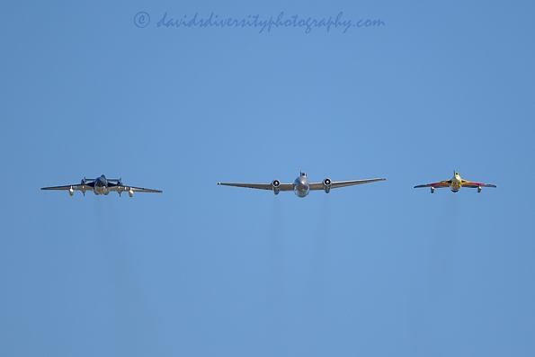 Canberra, Hunter and Sea Vixen jet aircraft, Dorset, formation overhead, image 2